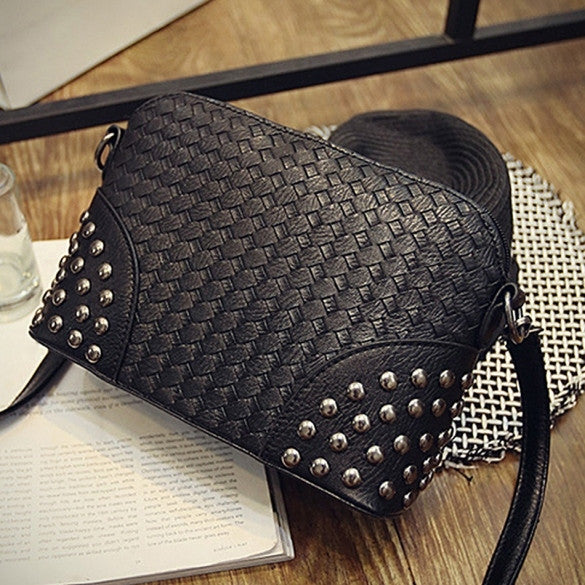 Fashion Women Synthetic Leather Braid Weave Rivets Shoulder Cross Body Bag Messenger