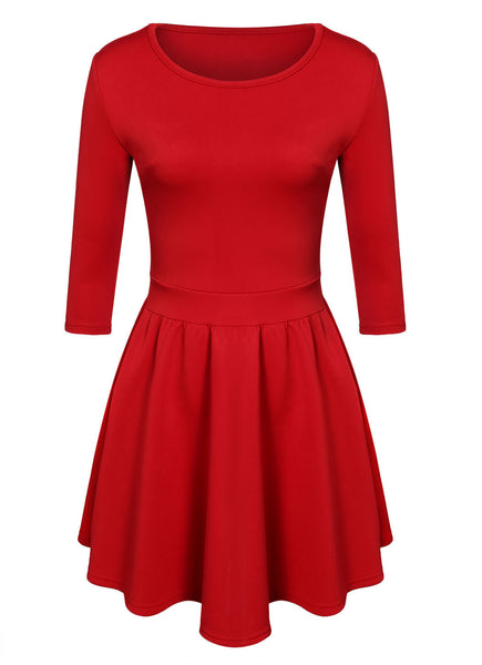 3/4 Sleeves Pleated A-line Short Skater Dress - MeetYoursFashion - 6