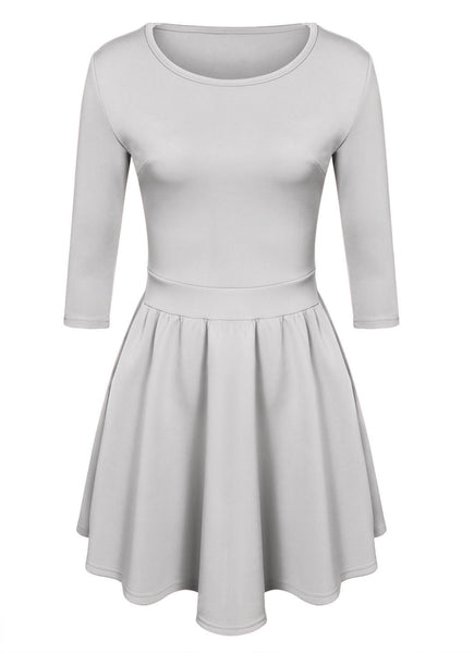 3/4 Sleeves Pleated A-line Short Skater Dress - MeetYoursFashion - 7