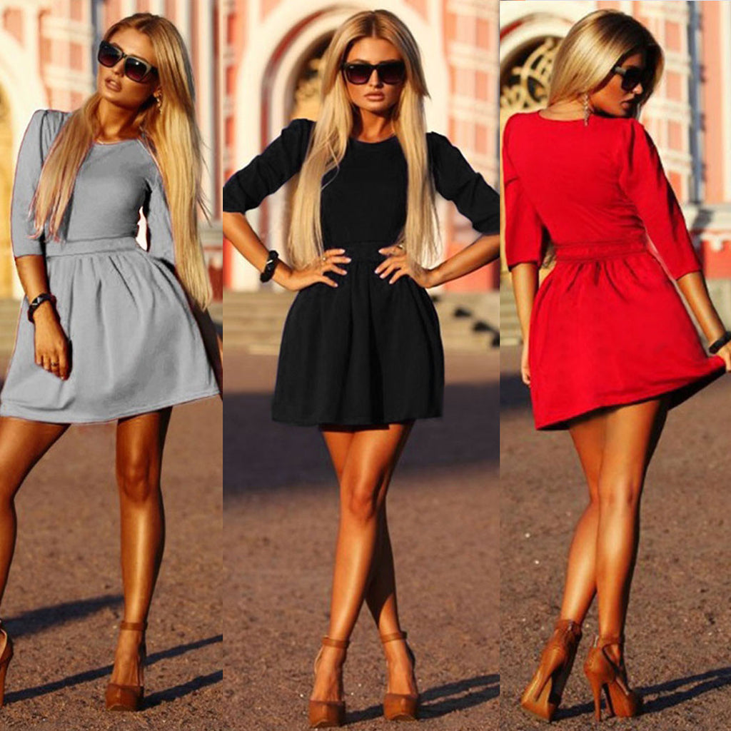 3/4 Sleeves Pleated A-line Short Skater Dress - MeetYoursFashion - 1