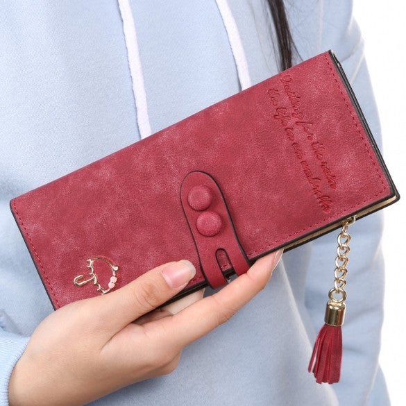 Women Lady Synthetic Leather Card Holder Long Trifold Wallet Clutch Checkbook Tassel Handbag Purse