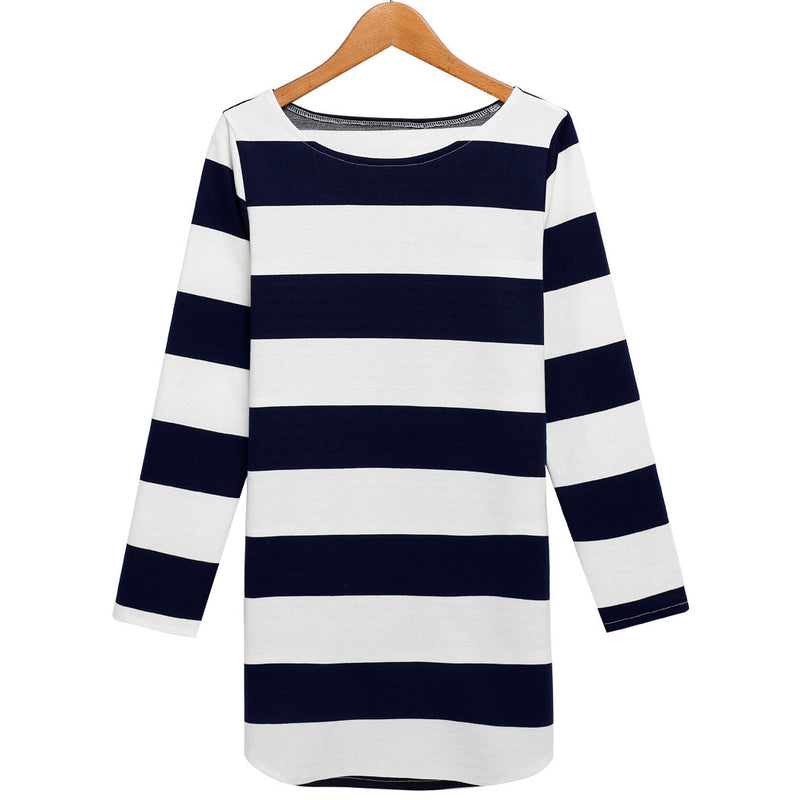 Women long Sleeves Stripe Straight Shift Dress - MeetYoursFashion - 3