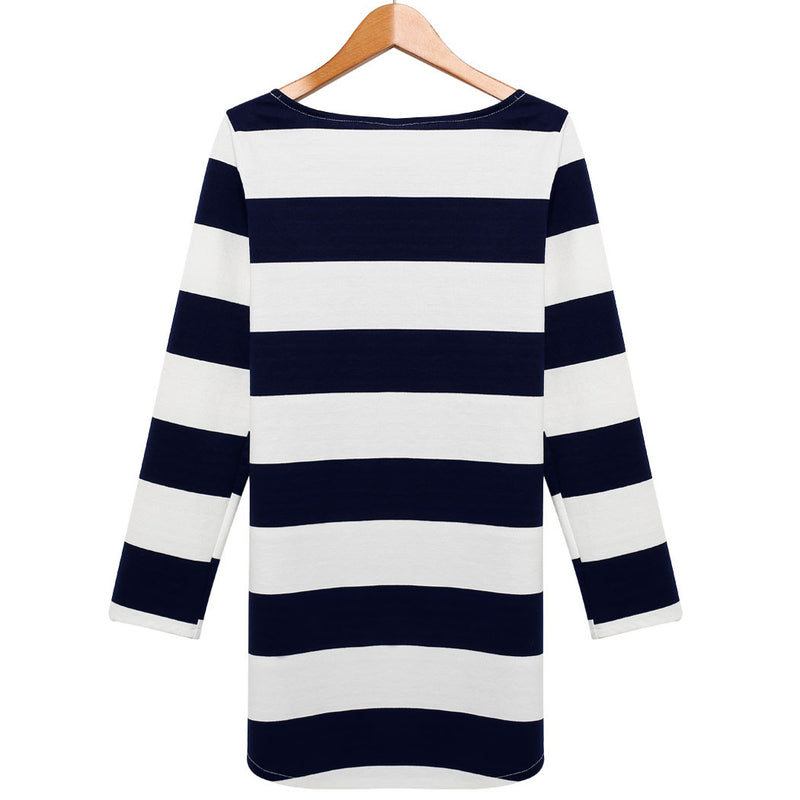 Women long Sleeves Stripe Straight Shift Dress - MeetYoursFashion - 4