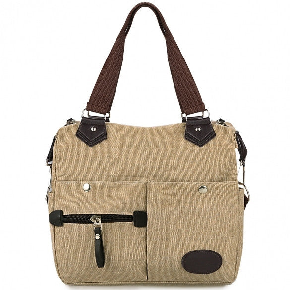Women Canvas Many Pockets Multi-functional Shoulder Bag Handbag Cross Body Messenger Bag