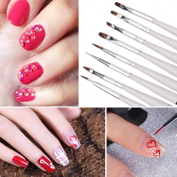 5PCS Double Ended Dotting Pen Marbleizing+ 8PCS Nail Art Brush Tool Kit Set Manicure DIY Tool