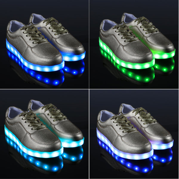 Unisex Cool LED Light Lace Up Luminous  Flat Sneaker Shoes - Meet Yours Fashion - 6
