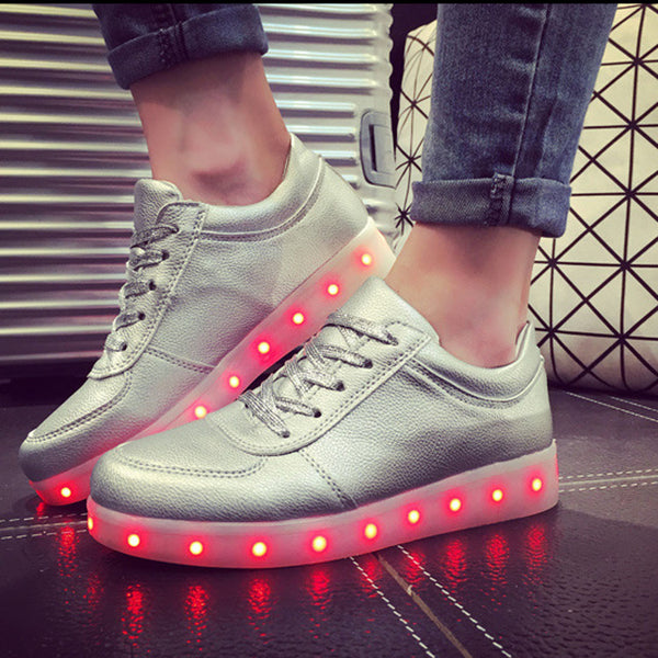 Unisex Cool LED Light Lace Up Luminous  Flat Sneaker Shoes - Meet Yours Fashion - 7
