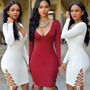 Deep V-neck Hollow Out Bandage Package Hip Short Dress Clubwear - MeetYoursFashion - 2