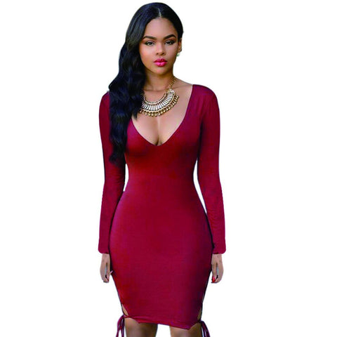 Deep V-neck Hollow Out Bandage Package Hip Short Dress Clubwear - MeetYoursFashion - 3