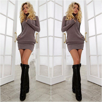 Spring Fall Casual Long Sleeves Package Hip Short Sweater Dress - MeetYoursFashion - 1