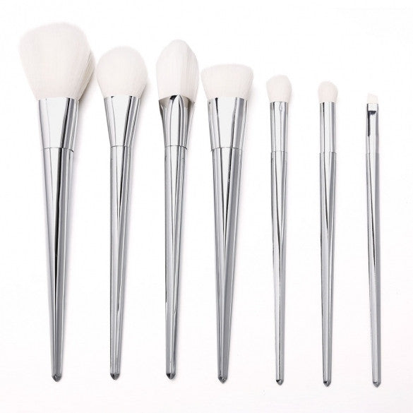 7PCS Pro Metal Techniques Brush Facial Blush Foundation Cosmetic Makeup Tool Set Silver/Gold/Pink