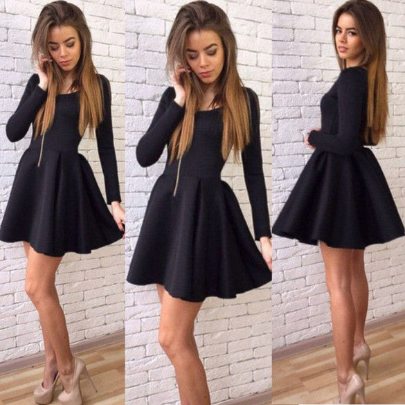 Long Sleeves Zipper High Waist Pleated Little Black Dress - MeetYoursFashion - 2