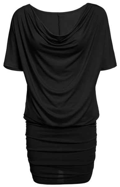 Casual Stretch Batwing Sleeves Soft Drape Mini Dress - MeetYoursFashion - 6