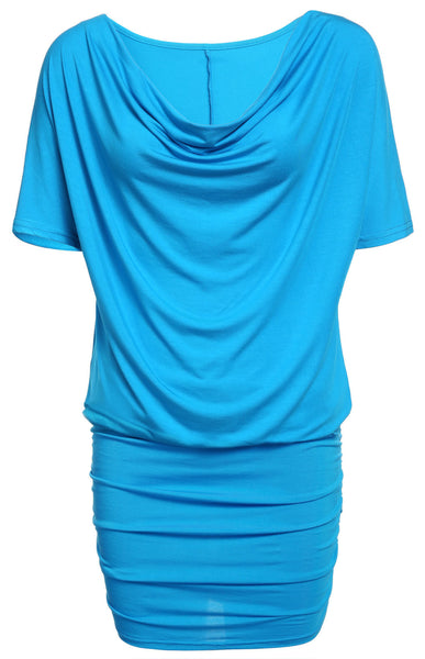 Casual Stretch Batwing Sleeves Soft Drape Mini Dress - MeetYoursFashion - 4