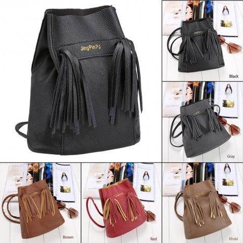 Fashion Women Soft Shoulder Bag Drawstring Bucket Bag With Tassel