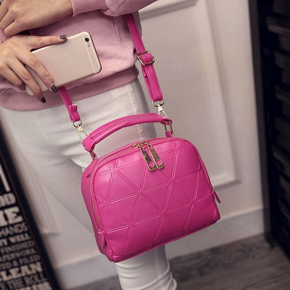 Women Fashion Synthetic Leather Small Solid Candy Color Handbag Cross Body Shoulder Bags