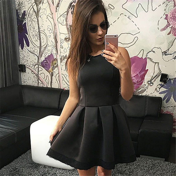 Women Sleeveless High Waist Lace Dress - MeetYoursFashion - 1