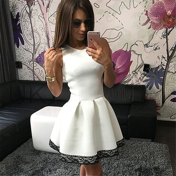 Women Sleeveless High Waist Lace Dress - MeetYoursFashion - 4