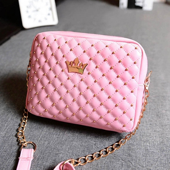 Fashion Candy Color Women's Artificial Leather Rivet Chain Embossed Messenger Bags Satchel Shoulder/Hand Bag