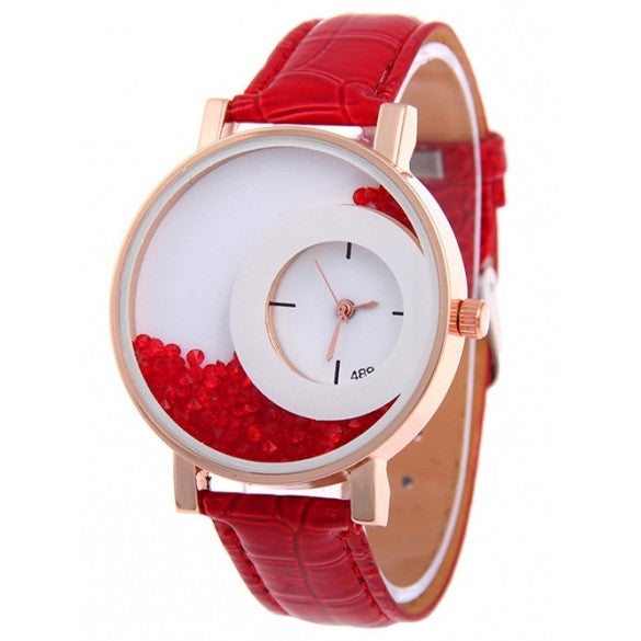 Fashion 5 Colors Ladies Synthetic Leather Strap Analog Quartz Wrist Watch Casual Women Dress Watches Hot
