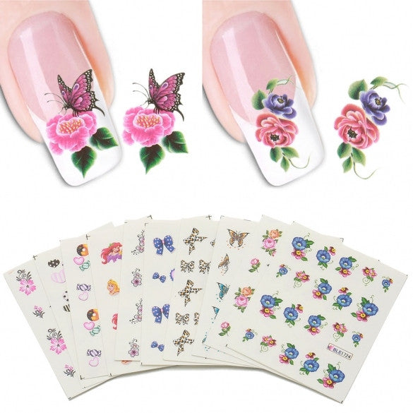 50 Sheets/set 3D Design Nail Art Tips Decoration Print Water Transfer Nail Stickers Manicure Decals