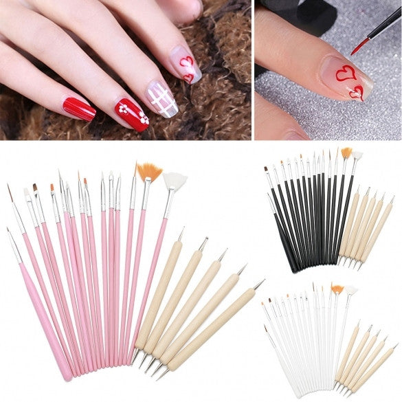 20pc UV GEL Acrylic Nail Art Tips Design Brush Set, 15 Nail Art Painting Pens+ 5 Wood Dotting Painting Pens