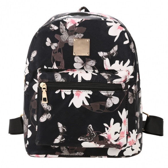 New Fashion Women Floral Print Travel Vintage Style Synthetic Leather Backpack - Meet Yours Fashion - 1