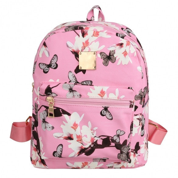 New Fashion Women Floral Print Travel Vintage Style Synthetic Leather Backpack - Meet Yours Fashion - 2