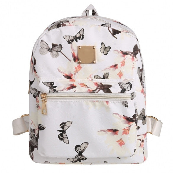 New Fashion Women Floral Print Travel Vintage Style Synthetic Leather Backpack - Meet Yours Fashion - 3