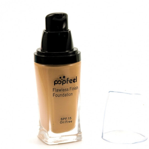 6 Colors Flawless Finish Liquid Foundation SPF15 Oil Free Cosmetic Face Concealer Bronzer Highlighter BB Cream Makeup