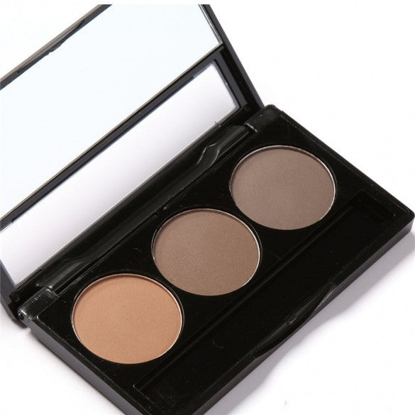 3 Colors Eyebrow Powder Palette Waterproof Smudge Proof With Mirror And Eyebrow Brushes