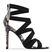 Bandage Patchwork Mixed Colors Snake High Heels Sandals