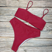 Beach Plain High Rise Triangle Bikinis