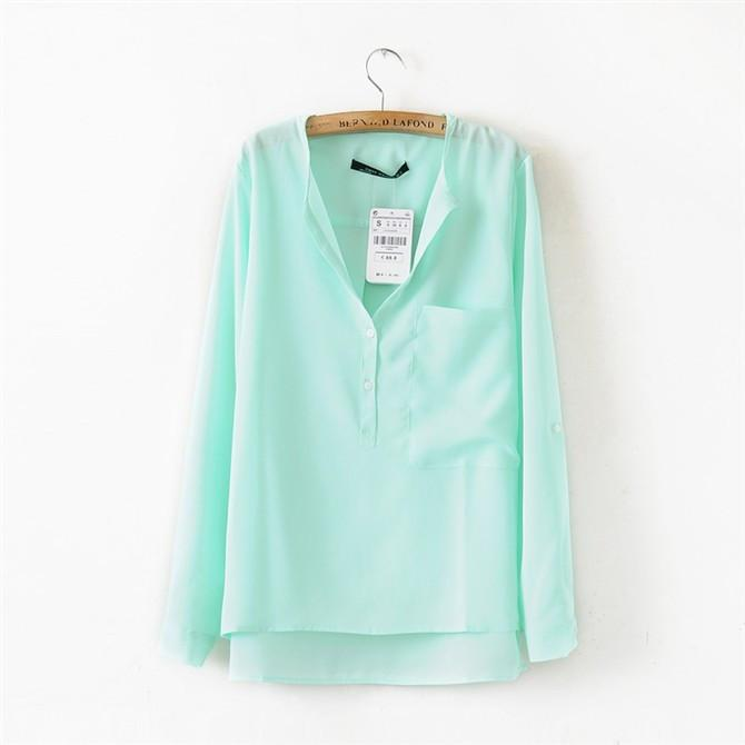 Chiffon V-neck Irregular Pure Color Casual Blouse - Meet Yours Fashion - 5