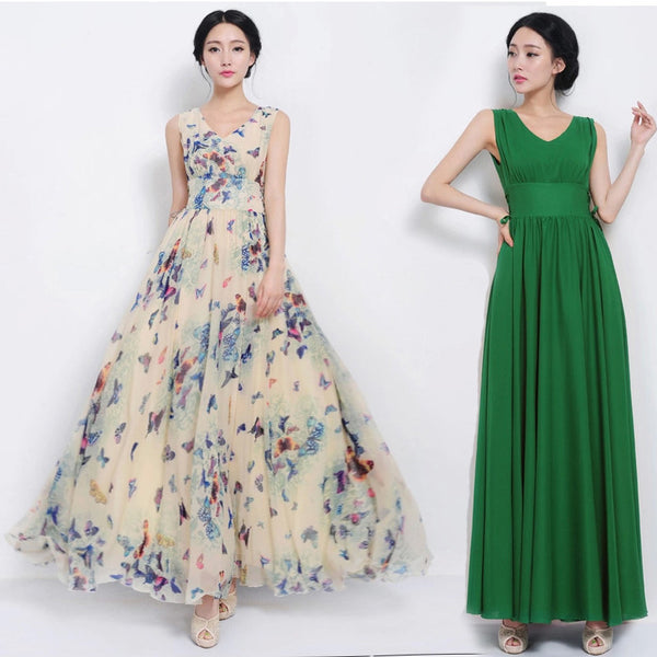 Beautiful Scoop Sleeveless Print Long Pleated Chiffon Dress