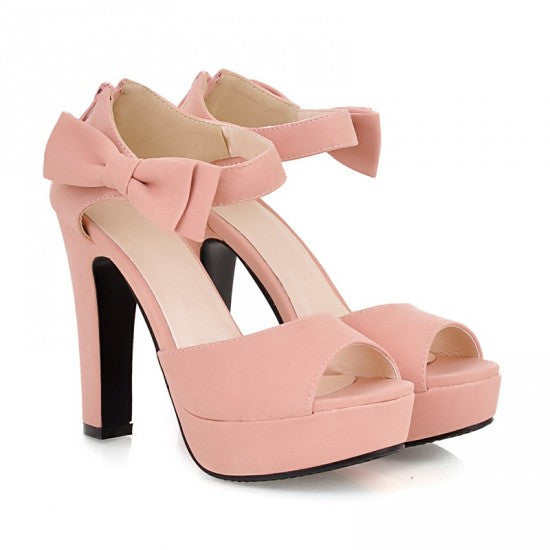 Sweet Candy Color Bow Knot Thick Heel Platform Sandals - MeetYoursFashion - 9