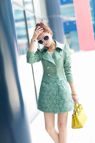 Lace Patchwork Turn-down Collar Slim Button Mid-length Coat - Meet Yours Fashion - 5