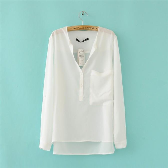 Chiffon V-neck Irregular Pure Color Casual Blouse - Meet Yours Fashion - 2
