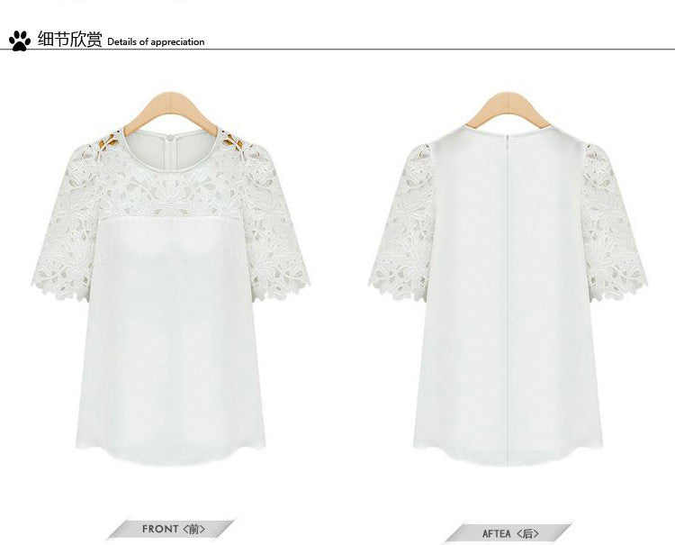 Lace Patchwork Short Sleeves Scoop Hollow Out Chiffon Blouse - Meet Yours Fashion - 7