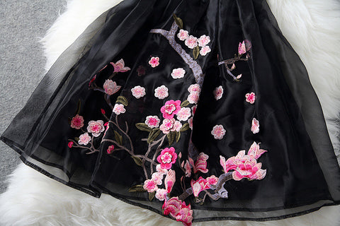 Charming Flower Embroidery Short Skater Dress - MeetYoursFashion - 6