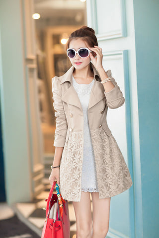 Lace Patchwork Turn-down Collar Slim Button Mid-length Coat - Meet Yours Fashion - 1