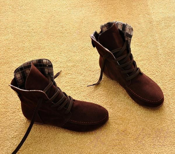 Autumn Solid Color Lace Up Flat Short Boots