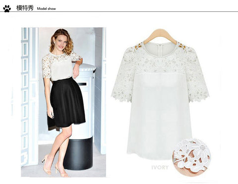 Lace Patchwork Short Sleeves Scoop Hollow Out Chiffon Blouse - Meet Yours Fashion - 2