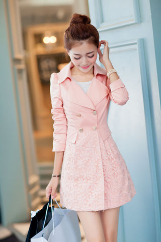 Lace Patchwork Turn-down Collar Slim Button Mid-length Coat - Meet Yours Fashion - 4