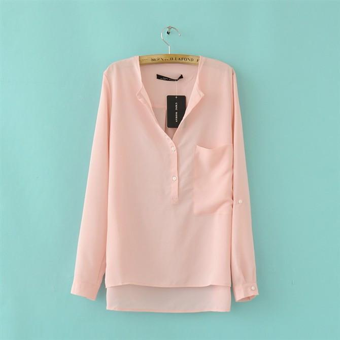Chiffon V-neck Irregular Pure Color Casual Blouse - Meet Yours Fashion - 4