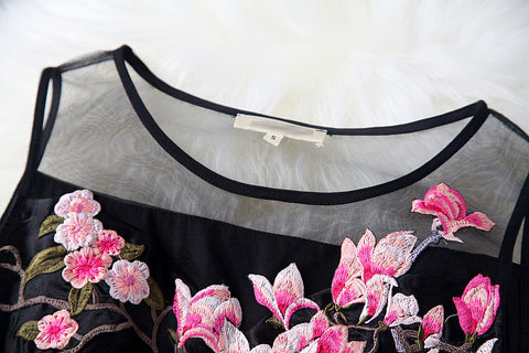 Charming Flower Embroidery Short Skater Dress - MeetYoursFashion - 5