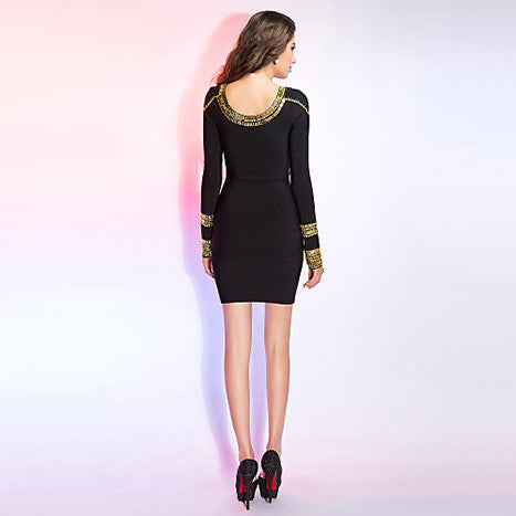 Gold Foil Long Sleeves Tunic Party Bodycon Dress - MeetYoursFashion - 8