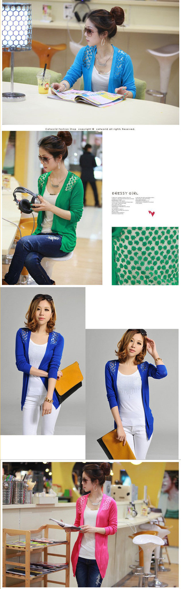 Candy Color Hollow Thin Knitting Blouse - Meet Yours Fashion - 12