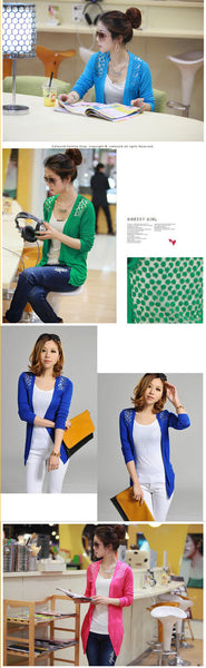 Candy Color Hollow Thin Knitting Blouse - MeetYoursFashion - 12
