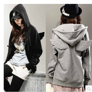 Korean Cartoon Wing Hooded Zipper Cardigan Hoodie